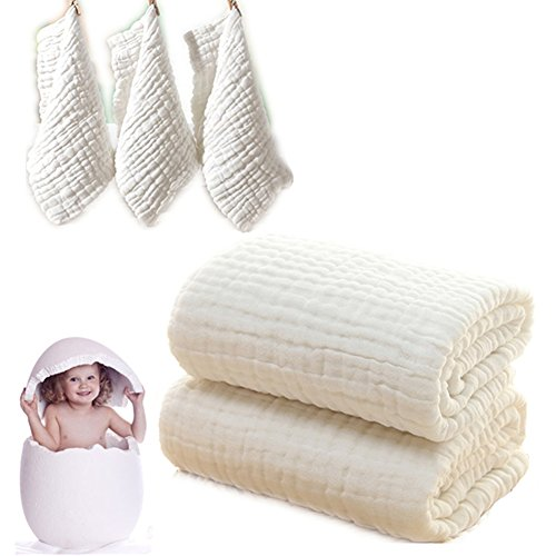 Baby Bath Towels and Washcloths Set Also for Baby Swaddle Blanket and Baby Face Cloth, (5 PC Value Pack) Super Soft 100% Muslin Cotton - Ideal for Baby Care Gift Sets by MUKIN