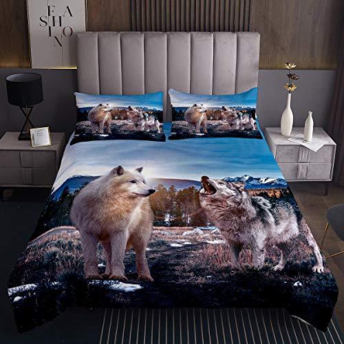 Paar Wolf Tagesdecke 240x260cm Safari Wilde Drucken Steppdecke für Erwachsene 3D Tiermuster Bettüberwurf Snow Tierwelt Mikrofaser Wohndecke Bettüberwurf 3St