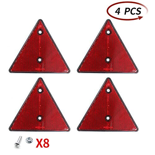 AOHEWEI 4 x Reflectores Traseros Rojos Triángulo Reflectante Remolque Tornillo Fijación Triángulo Reflectores Traseros para Postes Puerta Caravana Tractor Camión Barco Paredes