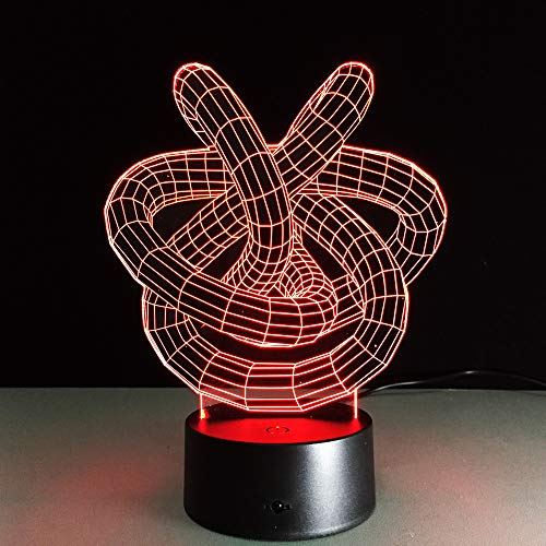 JINYI 3D Night Light Love Knot Circle Spiral Shape, LED Illusion Lamp, G - Mobile Phone Control Base, Acrylic Panel, LED Lighting, Child Lamp, Office Decor Lamp, Mood Lamp
