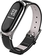 Mijobs Compatible Xiaomi Mi Band 3, Genuine Leather Replacement Strap Breathable Wristband with Metal Frame Bracelet Accessories for Xiaomi Mi Band 4 Smart Watch Bracelet Wristband
