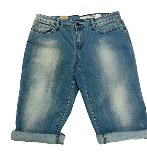 DKNY Jeans Women's Cuffed Stretch Denim Bermuda Shorts (10, Light Wash)