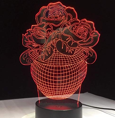 3D Optical Illusion Light-Rose Flower basket-3D Night Light LED for Dimmable Touch Control Brightness Light for Home Decoration Birthday and Holiday Gifts for Children(with USB Cable)-Touch+Remote
