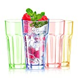13 oz Colored Plastic Cups Highball Drinking Glasses Tall Water Tumblers Kids Beakers Glassware Adults Picnic Camping Drinkware Dishwasher Safe BPA-free(4 Color)