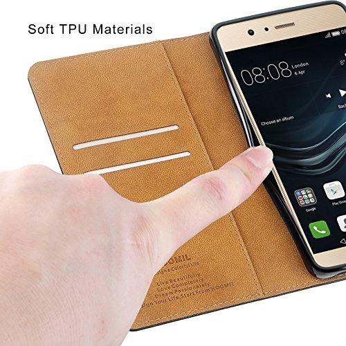HOOMIL Handyhülle für Huawei P9 Lite Hülle, Premium PU Leder Flip Schutzhülle für Huawei P9 Lite Tasche, Schwarz - 6