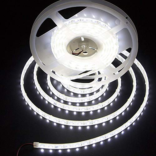 LEDMY Led Strip Waterproof Led Light Strip Super Bright DC12V 24W SMD3528 300LEDs IP68 Led Underwater Lights Cool White 6000K 5Meter/ 16.4Feet Using for Homes Kitchen Cabinet Lights and Outdoor