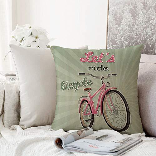 Decoratieve kussensloop kussensloop kussensloop, fietsset, retro-Featured Pop Art Style Urban Dated Bike met uitbreidende strepen Velocity ative,Throw kussensloop, Home Sofa Slaapkamer Decoratie