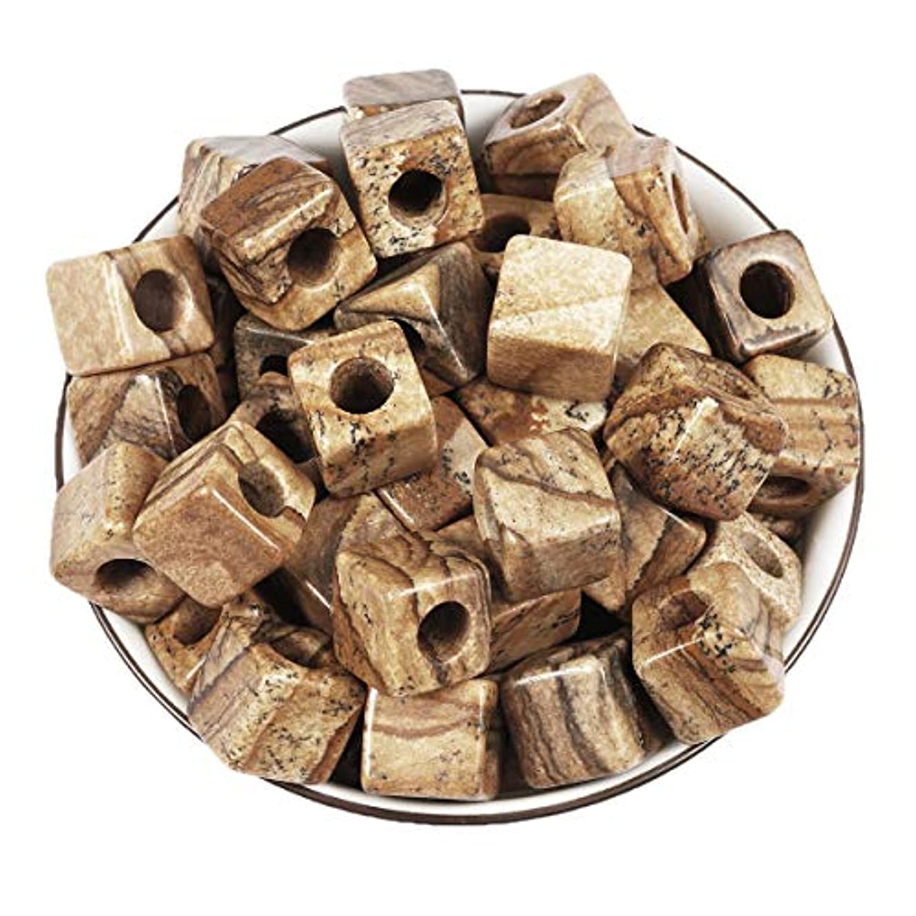 Loveliome 20 Pcs Large Hole(5mm) Loose Stone Square Picture Jasper Beads for Jewelry Makings