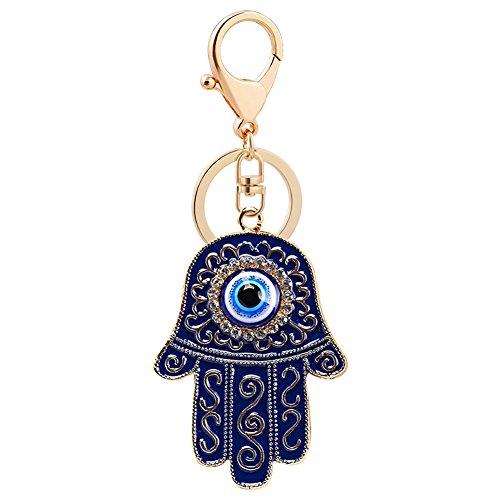 Nuohuilekeji Porte-clés Main de Fatma, œil bleu, bleu clair