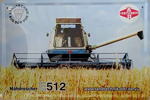 vielesguenstig-2013 Blechschild Schild 20x30cm - Mähdrescher Fortschritt E512 Landwirtschaft DDR