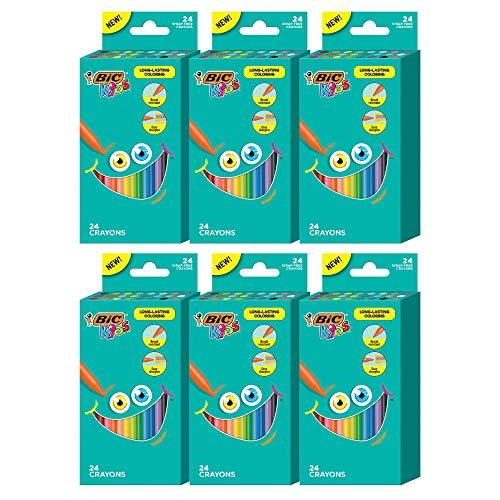 BIC Kids Crayons, Break Resistant, Wrap-Free, Long-Lasting Coloring, Vivid Assorted Colors, 24-Count - Pack of 6