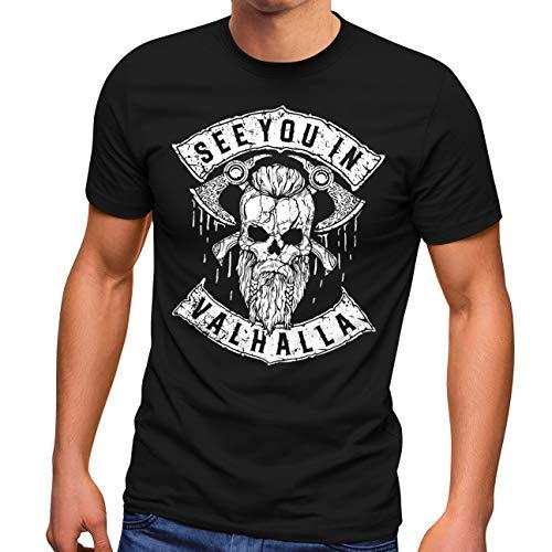 Neverless® Herren T-Shirt See You in Valhalla Wikinger Totenkopf Skull Fashion Streetstyle schwarz L