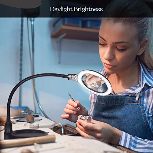 Brightech LightView Pro Flex Magnifying Lamp - 2 in 1 Clamp Table & Desk Lamp Energy Saving LED Ultra Bright Daylight Light, Great for Reading, Hobbies, Crafts, Workbench- Black