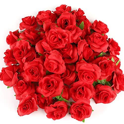Kesote 50 Pezzi di Teste di Rosa Artificiale di Seta, Fiori di Seta, Rose Artificiali di Decorzione per Matrimonio, Festa, Casa, Rosso, 4CM