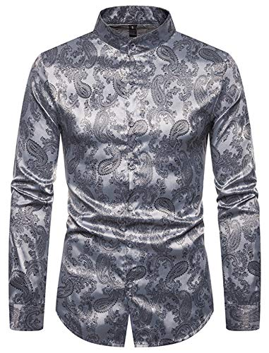 HOP Men's Casual Long Sleeve Slim Fit Shirts Luxury Silk Paisley Mandarin Collar Button Down Dress Shirt Bandanna Embrodiery HOPM377-Silver-M