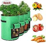 trounistro Pflanzen Tasche, 4 Stück Kartoffel Pflanzsack Pflanzbeutel mit Griffen und Sichtfenster Klettverschluss Dauerhaft AtmungsaktivBeutel Gemüse Grow Bag Pflanztasche (10 Gallon, Grun)