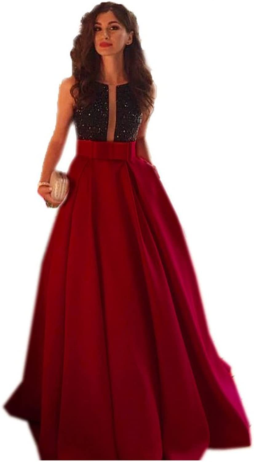 Vampal Red Two Tone Lace Bodice Pleated Open Back Floor Length Formal Dress