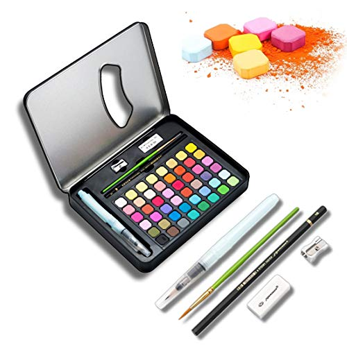 48 Color Solid Watercolor Paints Set Have Artists Professional Color, Watercolor Pans Sets for Kids Adults Beginners and Artists, Travel Watercolor for Painting