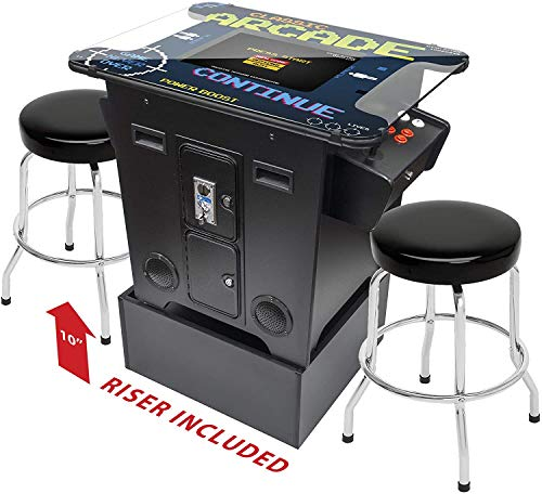 "Creative Arcades Full-Size Commercial Grade Cocktail Arcade Machine | Trackball | 412 Classic Games | 2 Sanwa Joysticks | Includes 2 Stools & Riser | 3 Year Warranty | 22"" Screen 