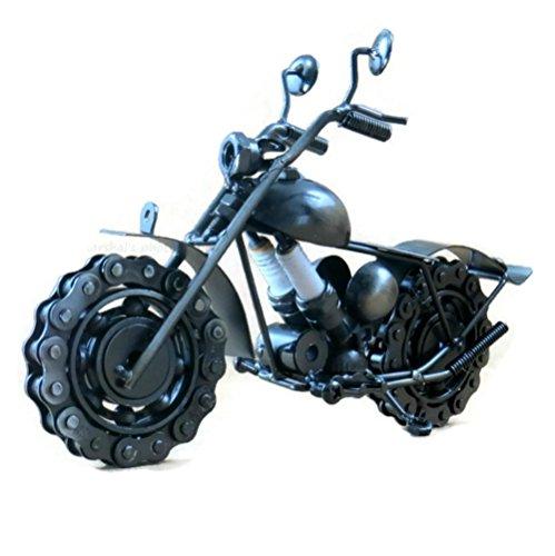 Die Cast Road King Metal Motorcycle Sculpture with Steampunk SparkPlug - Recycled Collectible Art Handmade 10.5' Black Motorbike