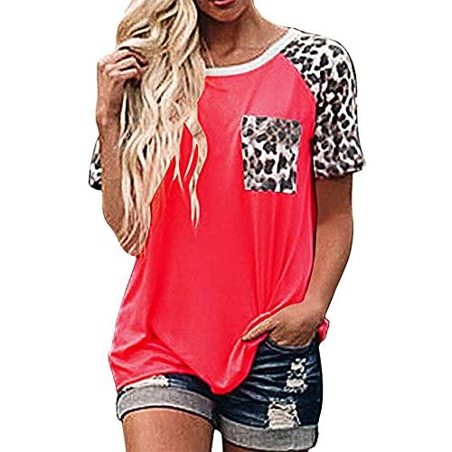 PRJN Camiseta para Mujer Camiseta de Manga Corta para Mujer Camiseta de Manga Corta con Estampado de Leopardo Camiseta Casual de Verano para Mujer Camiseta de Manga Corta con Cuello Redondo