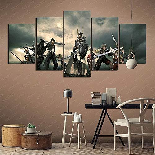 5 piezas cuadro en lienzo Cuadro compuesto por 5 lienzos impresos en HD, utilizados para decoración del hogar y carteles Final Fantasy (150x80cm sin marco)