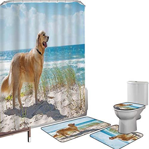 Shower Curtain Set Bathroom Accessories Carpet Set Dog Lover Decor Bath Mat Contour Rug Toilet Cover Golden Retriever on a Sandy Dune Overlooking Tropical Beach Ocean Outside Sky Decorative Non-Slip W
