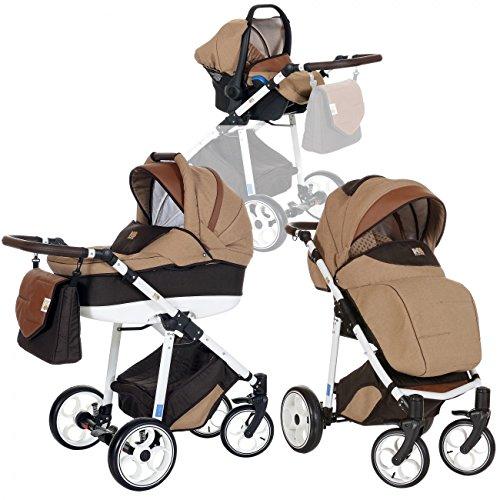 LCP Kids 3-in-1 Kombi-Kinderwagen Set ab Geburt - Leichtgängig - Reifen mit Pannenfrei Garantie...