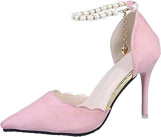 9491b6f9ab428e Subfamily Escarpins Femme Bride Cheville Sexy Talon Aiguille Plateforme  Epais Fermeture Lacets Chaussures Club Soiree Chaussures