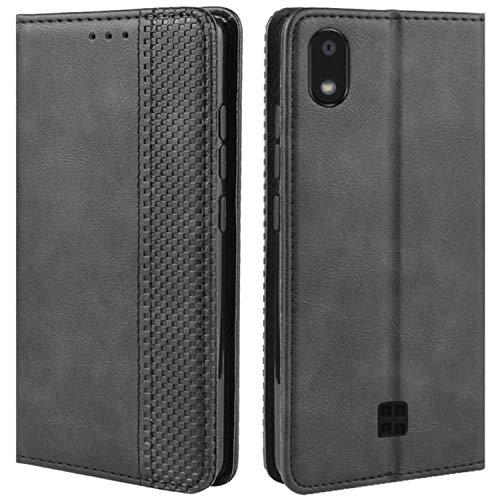 HualuBro Handyhülle für LG K20 2019 Hülle, Retro Leder Brieftasche Tasche Schutzhülle Handytasche LederHülle Flip Hülle Cover für LG K20 2019 - Schwarz