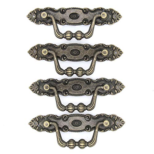 4 PCs Vintage Antique Brass Bail Pull - Drop Pull Handle for Drawer Cabinet Dresser Cupboard, Length 4.1-in (10.5 cm) and Height 1.4-in (3.6 cm)