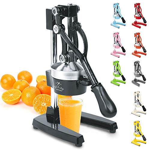 Zulay Professional Citrus Juicer - Manual Citrus Press and Orange Squeezer - Metal Lemon Squeezer - Premium Quality Heavy Duty Manual Orange Juicer and Lime Squeezer Press Stand, Black