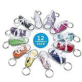 Comius Mini Canvas Sneaker Schuh Keychain, Schlüsselanhänger Schuh Schuhe Mit einem echtem Schnürsenkel Schlüssel Anhänger Schuhe Turnschuh Schlüsselring 12 Stück für Frauen Girl...