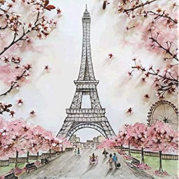 5D Diamond Crystal Rhinestone Painting Kits Embroidery Arts Craft for Home Wall Decor Adults and Kids Gift Pink Eiffel Tower 11.8x15.8 DIY Diamond Painting Kit