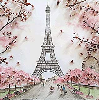 5D DIY Diamond Painting Full Square Drill Eiffel Tower Rhinestone Embroidery Arts Craft Adults Children Paint by Number Kits Cross Stitch for Wall Decoration 12X12 inches