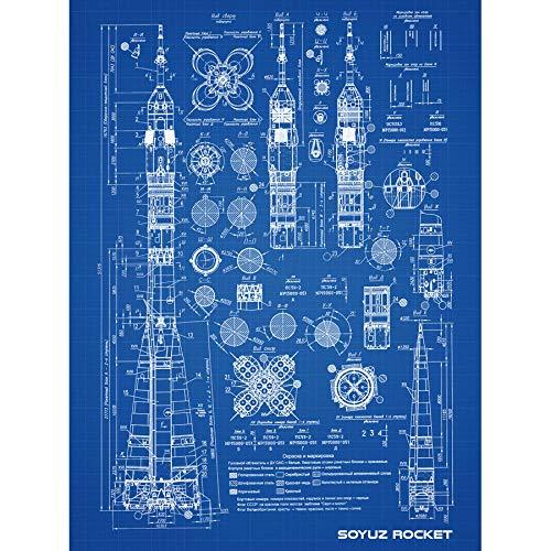 Soyuz Rocket USSR Soviet Space Blueprint Plan Unframed Wall Art Print Poster Home Decor Premium Rakete Sovietunion Sowjetisch Platz Blau Wand Zuhause Deko