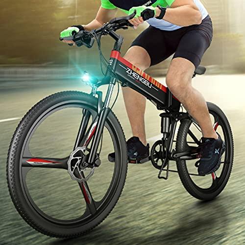 GAOXQ Bici Elettriche per Adulti 26 in Mountain Bike Freni E-Bike con Batteria al Litio 48V 10ah, Bicicletta E-MTB Professionale da 500 W Red black-27 Speed