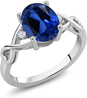 Gem Stone King 925 Sterling Silver Oval Blue Simulated Sapphire Women's Ring (2.39 Cttw, Available 5,6,7,8,9)