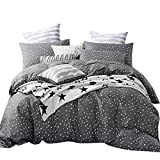AMZTOP 【Latest Collection Star Duvet Cover Set Twin Kids Duvet Cover 3 Piece Bedding Set Comforter Cover Black White Starry Sky Quilt Cover with 2 Pillow Shams Home Bedding Set,NO Comforter NO Sheet
