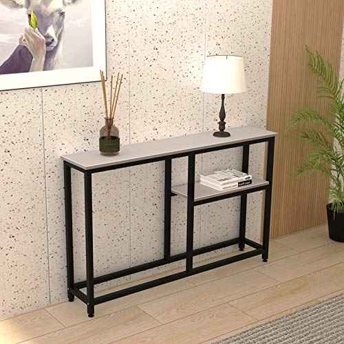 soges Console Table Hallway Entryway Table with Shelf Living Room Bedroom Desk Storage Shelves DX-122-GY-UT