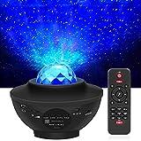 LED Projektor Sternenhimmel mit Fernbedienung, 3 in 1 Galaxy Light, Sternenlicht Stern Projektor mit Bluetooth Lautsprecher/ Starry Stern/360°Drehen Ozeanwellen für Kinder Erwachsene, Party Geburtztag