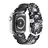 Secbolt Leather Bands Compatible with Apple Watch Band 42mm 44mm iWatch SE Series 6 5 4 3 2 1, Breathable Chic Lace Leather Strap for Women, Black/Grey Floral