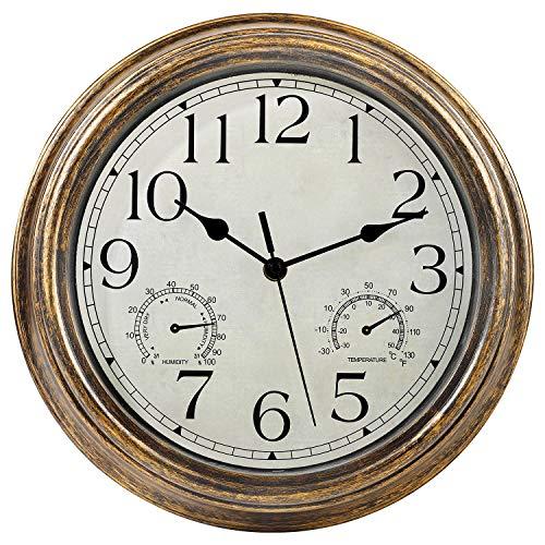 30,5 cm Wanduhr mit Temperatur- und Feuchtigkeit sanzeige , batteriebetrieben, wasserdicht, geräuschfreie , ist perfektes Dekor für Wohnzimmer/Zimmer/Büro ,Bronze