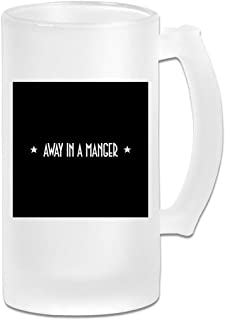 Printed 16oz Frosted Glass Beer Stein Mug Cup - White Text Away In A Manger PRET A Manger Christmas - Graphic Mug