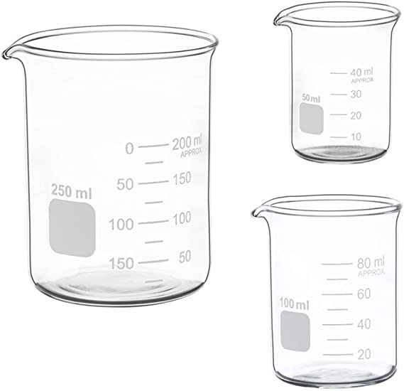Glass Measuring Low Form Beaker Set 50ml 100ml 250ml Glass Graduated Beaker Set