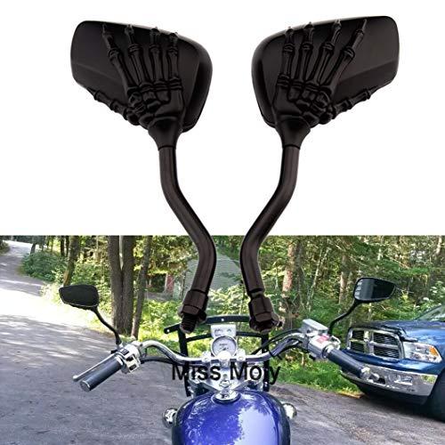 8mm 10mm Skelett Schädel Klaue Motorrad Spiegel Geisterhand Rückspiegel(Schwarz)