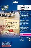Avery C32025-25 - Pack de 25 folios Tarjetas de visita (250 unidades, blancas con borde liso, 85 x 54 mm, impresión láser)