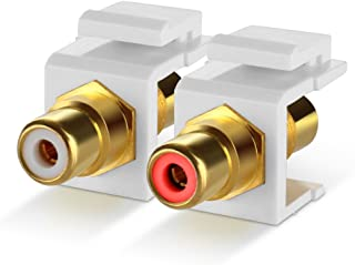 TNP RCA Keystone Jack Insert Connector Socket Modular Adapter Snap In Female 2RCA Port Gold Plated Inline Coupler For Wall Plate Outlet Panel Mount, 2 Channel Audio Red + White (1 Pack)