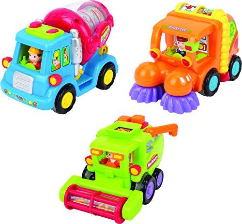 Think Gizmos Spielzeug für Kleinkinder - Set mit 3 reibungsbetriebenen Spielzeugen TG641 - Reibungsbetriebener Zementmischer / Kehrmaschine / Mähdrescher mit automatischen Funktionen