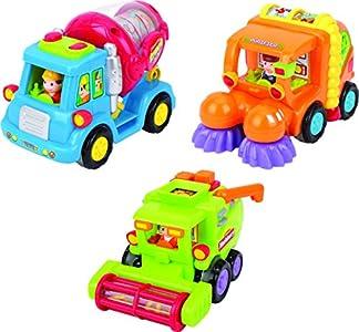 ThinkGizmos Set de Juguete a Tracción TG641 – Camión Mexclador de Cemento a Tracción / Camión Barredor / Camión Recolector con Funciones Automáticas de Juguete (Marca protegida)